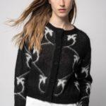 Sweter rozpinany czarno biały LAVANT - PINKO